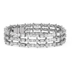 Blue Nile Deco Inspired Three-Row Diamond Eternity Bracelet in Platinum (23.55 ct. tw.)
