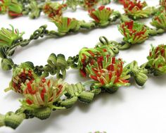 2 Yards Woven Rococo Ribbon Trim with Flower by NivaAccessories