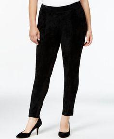 Calvin Klein Plus Size Faux-Suede-Front Leggings | macys.com