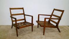(2) MCM  Danish Style Walnut Arm Chairs —