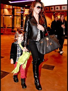 Kourtney Kardashian And Son Mason Both Sporting The Black, Buckled, Leather Boots. Twinsies!