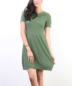 Green Bow Short-Sleeve Dress