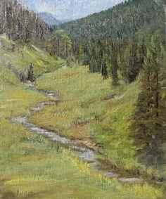 "Coal Creek Meandering by Linda Apriletti Oil ~ 12"" x 10"" #oilpainting #landscape #colorado"