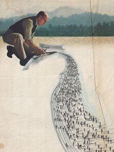 Caro Ma | on Tumblr - Le ski de fond. Collage digital à partir de documents originaux (livres), tirage «Fine Art» sur papier Hahnemühle mat 310g. Edition limitée à 5 ex., 30x40cm (2012)  Découper la piste de sa prolongation - Artchipel  Caro Ma sera exposé @ Art connectés > RSVP Meetup