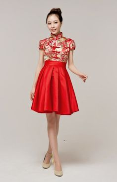 Vintage standup collar red wedding dressred bridal by DesignBridal
