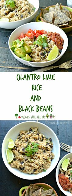 Cilantro Lime Rice and Black Beans is delicious on its own or in tacos, burritos, or bowls served with your favorite toppings like tomatoes or avocados. Learn how to make it by visiting www.veggiessavetheday.com, or pin and save for later! Vegan   Gluten Free