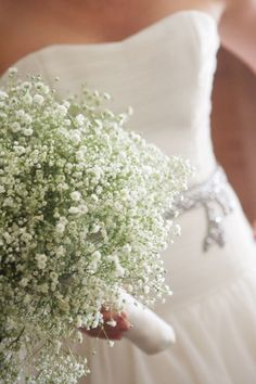 Baby's Breath Bouquet with ribbon in theme color