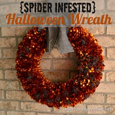 This spider-infested Halloween wreath is just about the easiest wreath you can make!