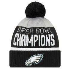 f2c61909f9deb Philadelphia Eagles New Era Super Bowl LII Champions Parade Cuffed Pom Knit Hat  Gray/Black