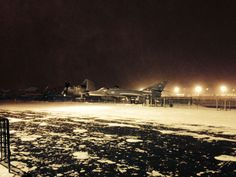 The flight deck covered in snow during the #Blizzardof2015 in January 2015.