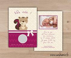 Faire-part naissance bébé original à gratter n°25 ecureuil : Faire-part par cashemir
