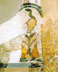 Minoan Lady with Papyri Fresco Art Akrotiri, Santorini, Greece