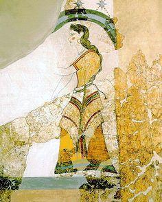 Minoan Lady with Papyri Fresco Art   Akrotiri, Santorini, Greece