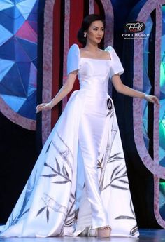 Hand painted silk gown with bamboo designs.Maria Clara Dress, Traditional Costume of the Phillipines Maria Clara Dress Philippines, Philippines Dress, Modern Filipiniana Gown, Filipiniana Wedding, Wedding Dress, Ball Dresses, Ball Gowns, Girls Dresses, Traditional Fashion