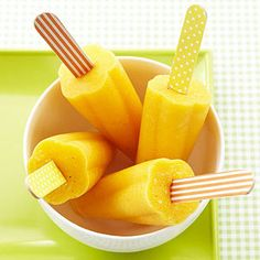 For kids and those who feel like kids, this easy diabetic dessert and snack recipe has fruits to please: mango, pineapple, banana,and orange juice in a summery frozen treat.