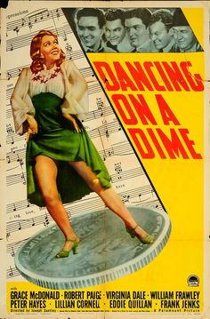 """Dancing on a Dime 1940 Authentic 27"""" x 41"""" Original Movie Poster Robert Paige Drama U.S. One Sheet"""