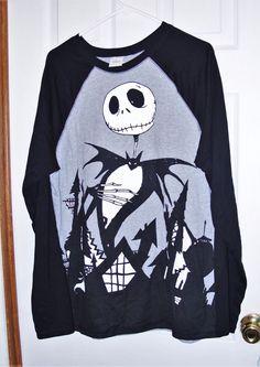 Disney Store Jack Skellington Men's Large Cotton Long Sleeve Graphic T-Shirt EUC #Disney