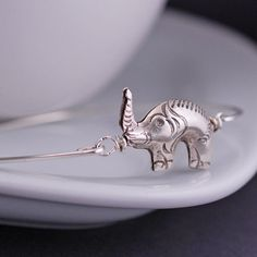 Sterling Silver Elephant Bangle Bracelet by georgiedesigns