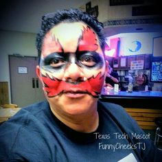 Texas Tech Mascot request face painting at family reunion by FunnyCheeksTJ Dallas Face Painter