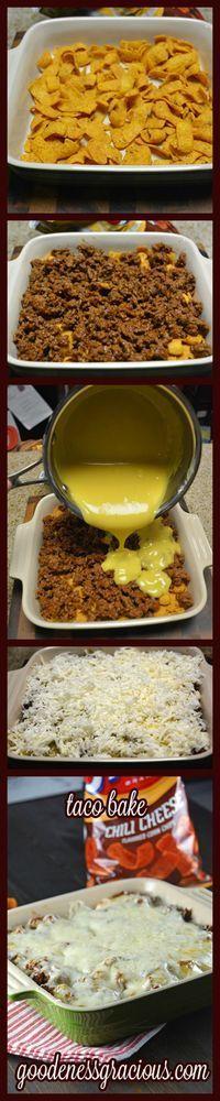 Taco Bake #taco #easyrecipe #casserole I would use shredded cheddar instead of cheese soup
