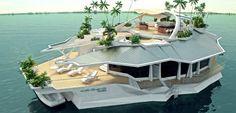 Sechs Schlafzimmer, Bordkino und Whirlpool auf dem Sonnendeck: Ein ungarischer Unternehmer plant künstliche Mini-Inseln für Millionäre. Einen Motor hat das teure Treibgut nicht - fortbewegen kann man es trotzdem. #Zukunft