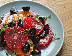 Blood orange, satsuma, and beet salad with maple-orange vinaigrette