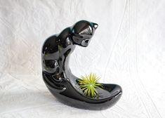 Black Ceramic Cat Soap Dish or Trinket Dish Sculpture / Statue
