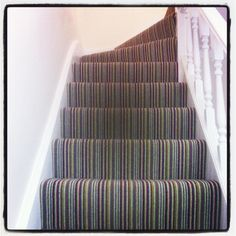 Cost Of Carpet Runners For Stairs Stairway Carpet, Hall Carpet, Carpet Stairs, New Carpet, Hallway Carpet Runners, Cheap Carpet Runners, Stair Runners, Stair Shelves, Striped Carpets
