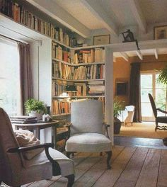 Home library wall reading corners ideas Cozy Living Rooms, Living Spaces, Cozy Reading Corners, Reading Nooks, Book Nooks, Cozy Corner, Library Wall, Cozy Library, Library Corner