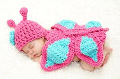 Baby Girl Newborn Crochet Butterfly Flower Hat Beanie Onesies Outfit Costume Photography Props Pink&Light Turquoise... for only $11.09 You save: $38.89 (78%)
