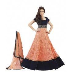 Designer Orange & Black Embroidered Floor Length Party Wear Anarkali Suit - 15184 ( ML- 879 )