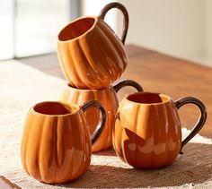 Pumpkin Mug, Set of 4 | Pottery Barn
