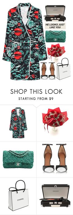 """""""Paris"""" by authentically-absurd ❤ liked on Polyvore featuring RIXO London, Chanel, Givenchy, Crosley and Sydney Evan"""