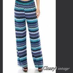 Boutique Pants - Chevron striped palazzo pants. NWT stunning blues.