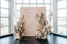 A lot of hairspray and a lot of pampas was used to create this piece for Nicole + Richards photo wall. Dreamt up by talented… Wedding Backdrop Design, Wedding Stage Design, Engagement Decorations, Outdoor Wedding Decorations, Backdrop Decorations, Wedding Designs, Backdrops, Boho Wedding, Floral Wedding