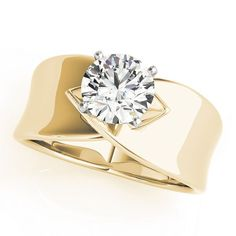 Criss-Cross Solitaire Engagement Ring in Yellow Gold