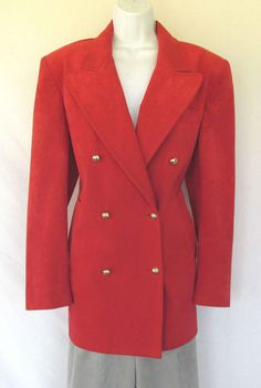VINTAGE 1970s ADOLPH SCHUMAN LILLI ANN ULTRASUEDE JACKET & PANTS RED GRAY LINED