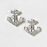 Silver and Crystal Anchor Stud Earrings-- So cute!!
