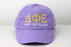 Delta Phi Epsilon Sorority Baseball Cap - Custom Color Hat and Embroidery.