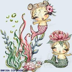 Items similar to Fabric Block Baby Mermaids Brats Cotton Panel Nursery Decor Girls' Merbabies on Etsy Drawing Sketches, Drawings, Mermaid Fairy, Unicorns And Mermaids, Mermaid Coloring, Baby Blocks, Kids Prints, Anime Art Girl, Cute Illustration