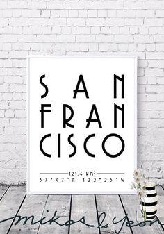 Typo by KimmisLittleStudio San Francisco Art, Home Printers, Travel Posters, Printable Wall Art, Typo, Digital Prints, Gallery Wall, Printables, Black And White