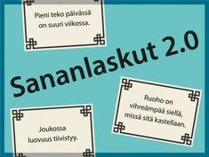 Sananlaskut 2.0 – Vanhat nöyryyteen ja vaatimattomuuteen kannustavat sananlaskumme on nyt päivitetty! Tutustukaa yhdessä uusiin viisauksiin ja kirjoittakaa ryhmässä lisää. Finnish Language, Kids And Parenting, Bond, Projects To Try, Cards Against Humanity, Teaching, Activities, Games, Quotes