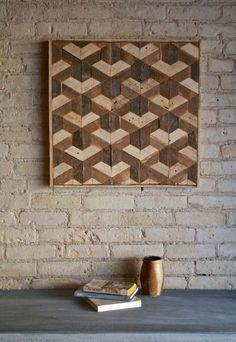 Large Reclaimed Wood Wall Art, Woodburning Wood Mosaic, Geometric Art, Wood  Wall Art , Rustic Wood Wall Art, Wood Wall Sculpture Abstract   Blocos De  ...