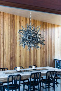 Redhead Residence by Bourne Blue Architecture: The outdoor dining area, complete with statement pendant light. Outdoor Dining, Dining Area, Dining Room, Louvre Windows, 1970s House, Metal Cladding, Pine Plywood, Vogue Living, Sliding Glass Door
