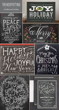 say happy holidays with a chalkboard