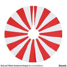 Red and White Starburst Stripes Brushed Polyester Tree Skirt