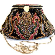 Colorful 1950s LaRegale Beaded Evening Bag    Beautiful Black Beaded purse with multi-color Designs in Blue, Fuchsia, Gold & AB Bugle and