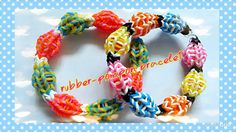Rainbow loom rubber pompon bracelet tutorial彩虹橡筋彩球手繩