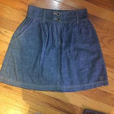"""⭐️ Jean Skirt⭐️ Purchased at PacSun. The cutest jean skirt. Has pockets and is high waisted. The waistband is elastic, so very accommodating and forgiving to different frames! No flaws. (Measurement - from top to bottom of skirt: 15 3/4"""") PacSun Skirts"""
