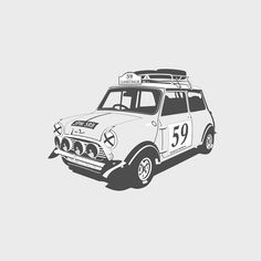 The Connection Is Unclear, but the Art Is Sharp and Clean Mini Cooper S, Classic Mini, Classic Cars, Minis, Quad, Garage Art, Car Illustration, Ex Machina, Car Posters